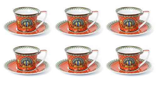 Gold 24k Saucer - Royalty Porcelain Luxury Tea or Coffee Cup Set, 24K Gold (12 PC, Red Peacock)