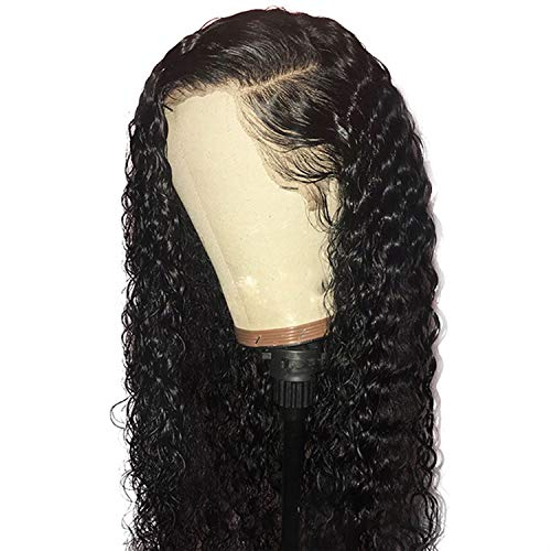 Transparent Lace 130 Density Curly Lace Front Human Hair Wigs With Baby Hair Remy Brazilian Wigs Pre Plucked Natural Hairline,Natural Color,16inches,130 Density Wig]()