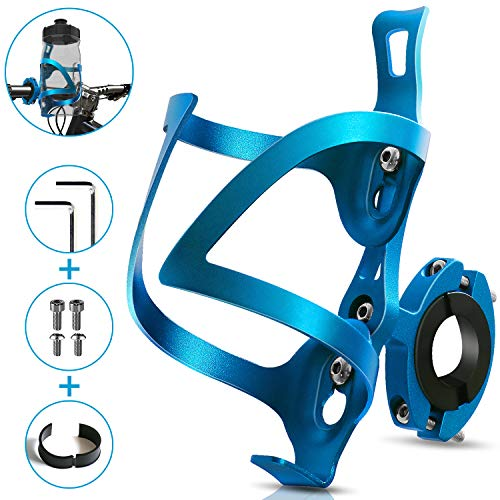 Bike Cup Holder, Bicycle 2-in-1 Bottle Bracket, Aluminum Alloy Water Bottle Cages, Universal Rotation Cup Drink Holders for Motorcycle, MTB, Wheelchair, Baby Stroller, Trolleys, Tools Free (Blue)