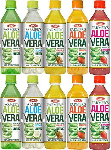Farmer's Aloe Vera Variety Pack - Original, Mango, Coco, Fresa/Strawberry, Pina/Pineapple Drinks, 16.9 Fl Oz (Pack of 10, Total of 169 Oz) (Vera With Drinks Pulp Aloe)