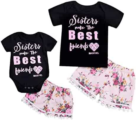 12911c226 YOUNGER TREE Kids Newborn Baby Girls Sister Matching Outfit Letter Romper T- Shirt+Floral