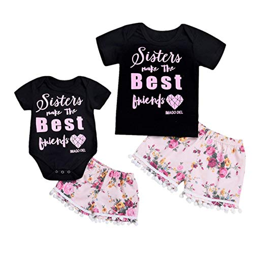 - YOUNGER TREE Kids Newborn Baby Girls Sister Matching Outfit Letter Romper T-Shirt+Floral Print Pants Summer Clothes Short Set (T-Shirt+Pants, 5-6 Years)