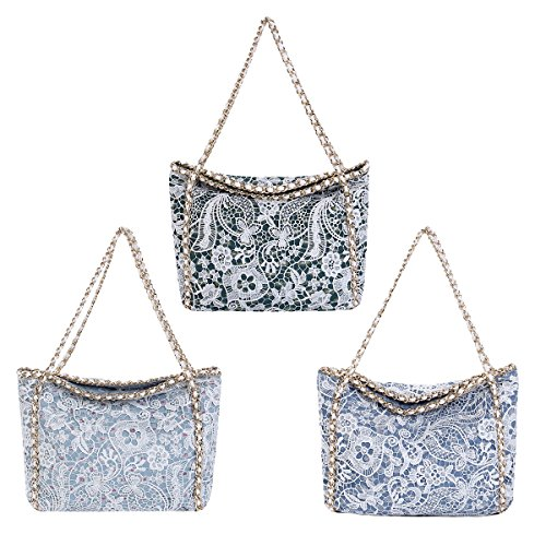 Premium Lace Floral Jeans Demin Flap Shoulder Tote Satchel Bag Handbag
