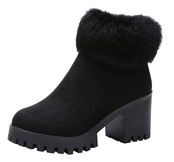 8caa622f80661 Fashion Women's Plus Velvet Ankle Booties Clearance Sale, NDGDA High Heel  Warm with Thick Boots