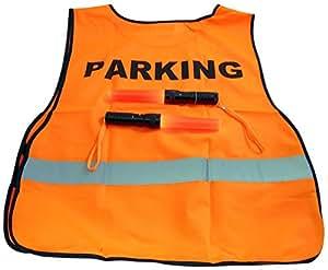 Safety Parking Attendant Set Night Flashlight Wand Signal Night Light and Orange Vest