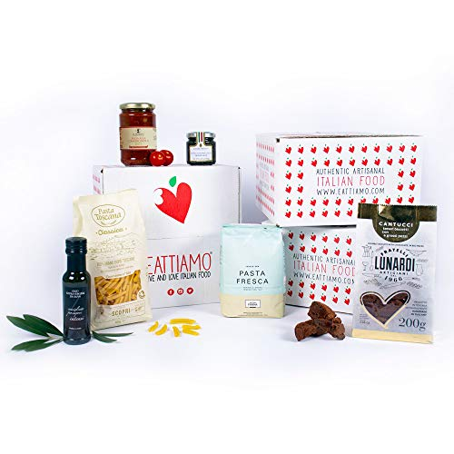 Eattiamo Gourmet Italian Food Gift Box - Easy To Cook- Full Meal For 4 People - 6 Authentic Tuscany Delicacies Packed With Love