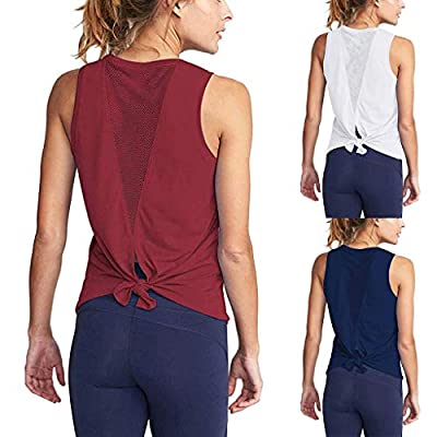 Womens Cute Tie Back Activewear Workout Clothes Mesh Yoga Tops Exercise Gym Shirts Running Tank Tops