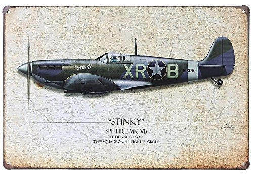 - ERLOOD Stinky Spitfire Mk Vb Airplane Fighter Retro Vintage Decor Metal Tin Signs 12 X 8