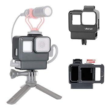 Ulanzi V2 Vlog Frame Cage Funda de Carcasa Compatible para GoPro Hero 7 6 5 Cámara de Acción con Zapata Fría Micrófono Luz Led