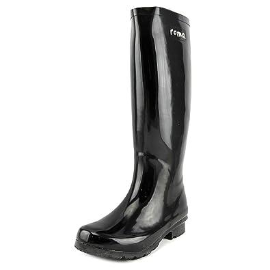Amazon.com | Roma Boots Women's Classic Rain Boots, Glossy Black ...