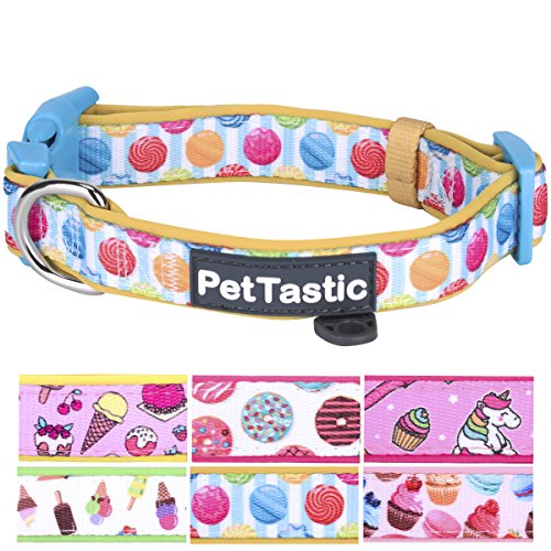(PetTastic Best Adjustable Small Dog Collar Durable Soft & Heavy Duty with Cute Sweet Dessert Design, Outdoor & Indoor use Comfort Dog Collar for Girls, Boys, Puppy, Adults, Including ID Tag Ring)