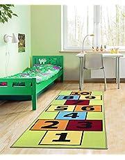 Ottomanson Children's Garden Collection Red Educational Titled Hopscotch Design Children Nursery Kid's Play Runner Rug