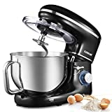 CHULUX Electric Stand Mixer, 660W Tilt-Head Kitchen Food Mixing Machine, 6.5 QT Spout Stainless Steel Bowl With Handle, Low Noisy, 6 Speed Control, Dough Hook, Egg Whisk, Beater, For Cake, Bread and Pizza