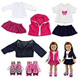 Barwa 2 sets Outfits Dress Clothes with 2 pair Shoes for 18 inch American Girl Doll Xmas Gift