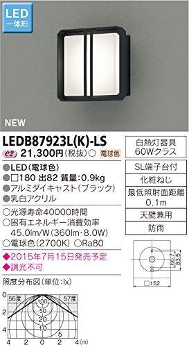 東芝ライテック LED一体形アウトドアブラケット ポーチ灯 ブラック 180×180 B00ZZ4AYEI 11145