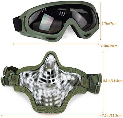 Aoutacc Juego de m/áscaras y Gafas Airsoft m/áscara de Malla de Acero Completa de Media Cara y Gafas para CS//Caza//Paintball//Disparos