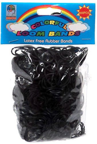 Colorful Loom Bands 600 BLACK Rubber Bands with 'S' Clips