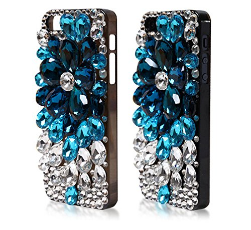 Faceplate Design Blue Star - iphone 6 Case, LU2000 3D Luxury Bling Case Cover Faceplate Shining Full Crystals Diamond Sparkle Bedazzled Jeweled Design Front & Back Snap-on Hard Case Fit for Iphone 6 (4.7 inch) - Blue