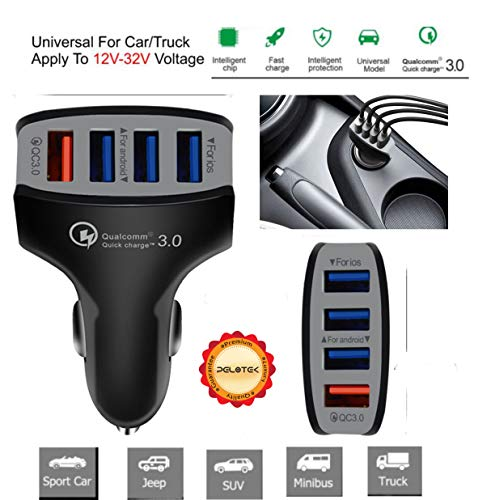 Travel Kit Charge Usb (Pelotek: 12V USB Car Charger | Qi Certified 35W Supersonic Speed Car Charger 4 USB Ports with Smart ID + 5 Safety Features | Compatible with iPhone Android Phones Tablets and All USB Devices (Black))