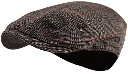 Wonderful Fashion Men's Classic Herringbone Tweed Wool Blend Newsboy Ivy Hat (Large/X-Large, Paisley Dk.Brown)