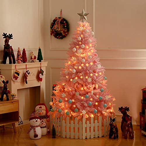 4FT Lit Artificial Christmas Tree, Optical Fiber Xmas Tree PVC Spruce Hinged w/Warm White LED Lights & Metal Stand for Holiday Decor-Pink 4ft(120cm) (Prelit Tree Christmas Pink)