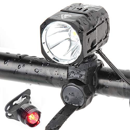 Nestling USB Rechargeable LED Bike Light Set, 1200 Lumen Bicycle Headlight Cree XM-L2 LED Waterproof Bike Front Light Handheld Flashlight with 4400mAh Battery