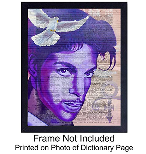 Prince Mural Wall Art Print on Dictionary Photo - Ready to Frame (8x10) Vintage Photo - Perfect Gift for Rock n Roll Fans and Guitar Players - Steampunk - Cool Home Decor