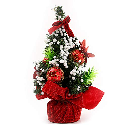 BALANSOHO Mini Tabletop Christmas Tree Decorated with Ball, Poinsettia, Ribbons Ornaments Festive Holiday Decor Xmas Party Decoration (Ribbon Decorated Tree With Christmas)