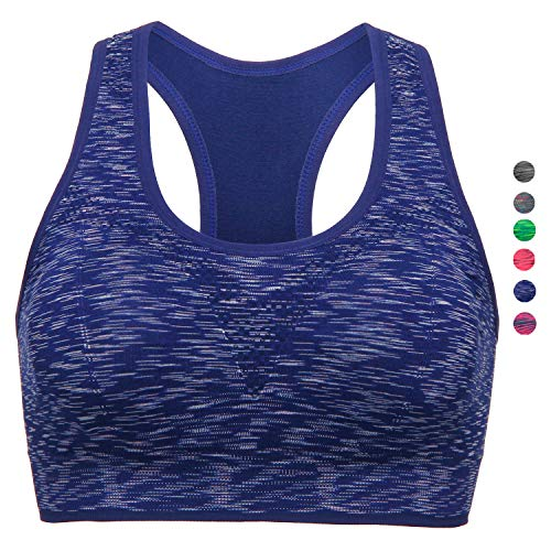 (TOBWIZU Women Racerback Sports Bras -Removable Padded Seamless Med Support for Yoga Gym Workout Fitness Activewear Bra(L) Blue)