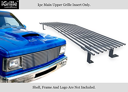 APS Compatible with 82-90 Chevy S-10 Pickup Blazer S-15 Jimmy Stainless T304 Billet Grille Grill Chrome Polished N19-S40058C (Chevy S10 Grille Emblem)