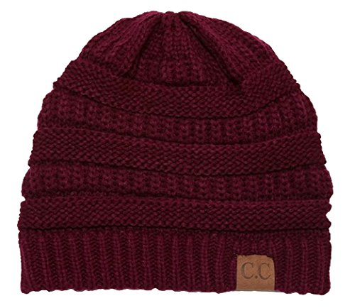 C.C Women's Thick Slouchy Knit Beanie Cap Hat One Size Cherry (Slouch Ladies Hat Red)