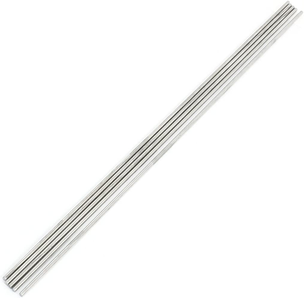 sourcingmap/® 5pcs Silver Tone Stainless Steel 3002x.5mm Round Rod Axle for Boat Toy
