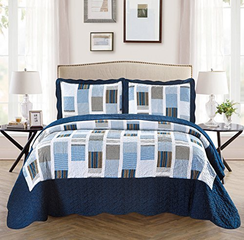 Twin/Twin Extra Long 2pc Over Size Quilted Bedspread Set Reversible Squares Striped Navy Blue Light Blue Grey New