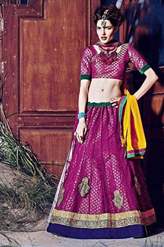 IWS Womens Deep Pink Striking Lehenga Choli With Crystals Stones Work 79955