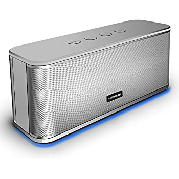 Portable Bluetooth Speakers,LENRUE Wireless Speakers for 10-hour Playtime,33ft Range,Dual Drivers Enhanced Bass,TF Card Insert,Aux Line and Built-in Mic for Iphone/Andriod/Tablet(Silver)