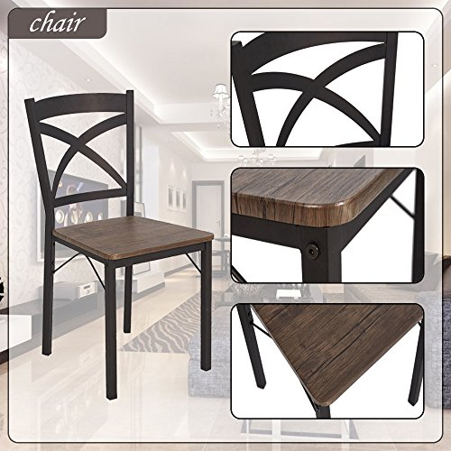Dporticus 5-Piece Dining Set Industrial Style Wooden Kitchen Table and Chairs with Metal Legs- Espresso by Dporticus (Image #5)