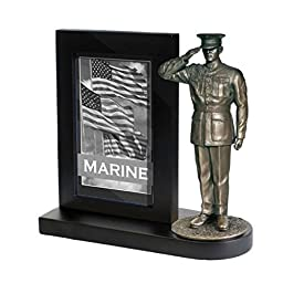 Khaki Army MD102B US Marine in Dress Blues Saluting on Black Wood Base with 4x6 Photo Frame