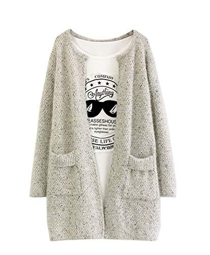 Gilets Hauts Longues Fox Tricot Femmes Outwear Manteau Chandail Manches Vestes Hiver Fräulein Automne Coat Mode Casual Cardigan Maille En Pulls Sweater Pullover Top 8HxRqw