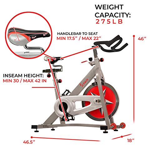 Sunny Health & Fitness SF-B901 40 LBS (18 KG) Flywheel Chain Drive Pro Indoor Cycling Exercise Bike Vélo Stationnaire