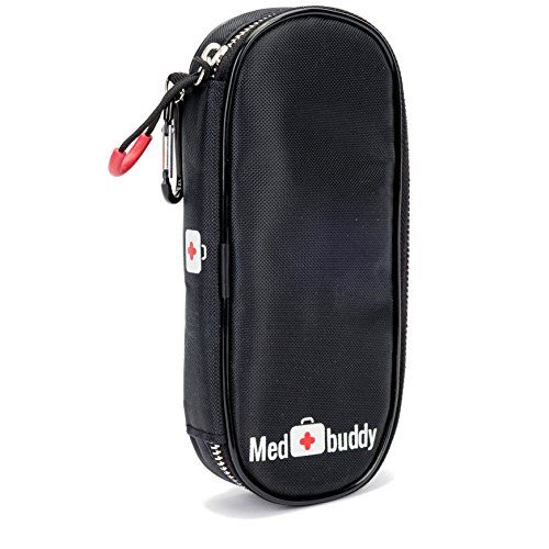 MedBuddy Medicine Case - Fits 2 EPIPEN, Allergy & Asthma meds, Auvi-Q, Inhalers, Peak Flow, generic Benadryl, Nasal Spray, Eye Drops, Insulin, Vials & syringes: (Black) by MED BUDDY