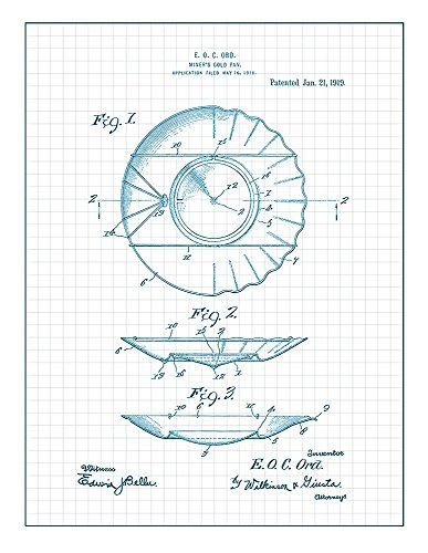 Miner's Gold-pan Patent Print Art Poster Blue Grid  M14711