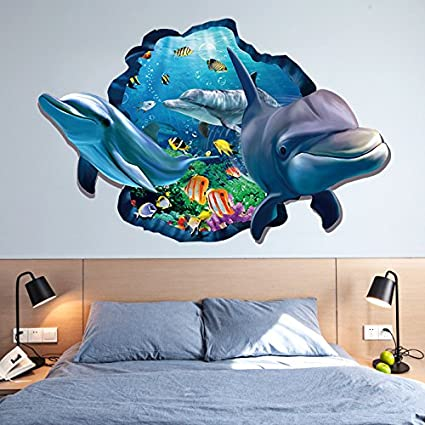 Amazon.com: ChezMax 3D Dolphin Wall Art Sticker Removable Wall Decal ...