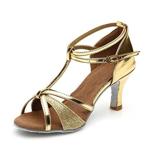 Women's Dance Shoes Latin Ballroom,Gold,8 B(M) US -