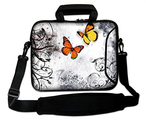 """Ektor - Funda blanda tipo bolsa para portátil de 10-17,6"""" con correa de hombro Butterflies on White"""