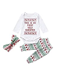 iumei First Christmas Outfits 3PCS Baby Letter Long Sleeve Jumpsuit Pants Headbands