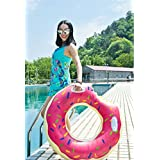 Gigantic Donut Pool Float-100cm Diameter-Inflatable Swimming Ring with Pink Frosting by LiangTing