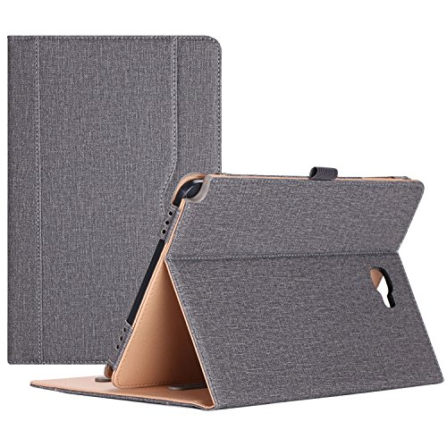 ProCase Samsung Galaxy Tab A 10.1 with S Pen Case - Stand Folio Case Cover for Galaxy Tab A 10.1 Inch Tablet with S Pen SM-P580, with Multiple Viewing Angles, Document Card Pocket - Grey