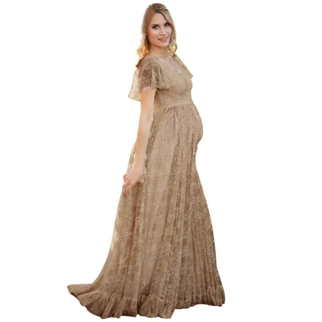 TAORE TAORE Sexy Maternity Dress Sheer Lace Gown Short Sleeve Maxi Photography Dress (L, Coffee)