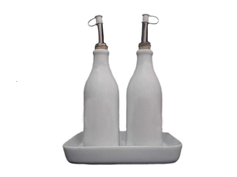 Vinagre Sal y Pimienta en Acero Inoxidable 18//10 y Vidrio Cristalino Set de Vinagreras de Dise/ño para Aceite Alessi 5070
