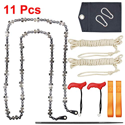 BLIKA 53 Inch High Tree Limbs Hand Rope Chain Saw, Upgraded Chain with 68 Teeth, Includes Rope and Throwing Weight Pouch, Folding Pocket Chain Saw for Camping, Field Survival Gear, Hunting